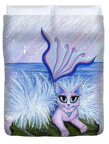 Duvet Cover featuring the painting Elemental Water Mermaid Cat by Carrie Hawks
