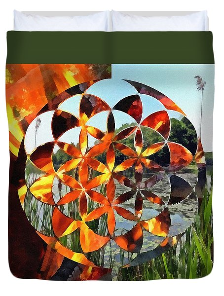 Duvet Cover featuring the digital art Elements Of Life by Derek Gedney