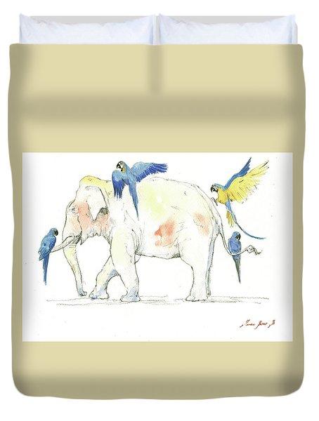 Elephant And Parrots Duvet Cover by Juan Bosco