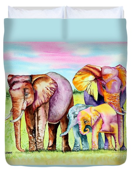 Duvet Cover featuring the painting Elephant Aura by Maria Barry