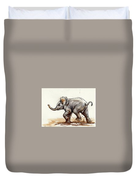 Duvet Cover featuring the painting Elephant Baby At Play by Margaret Stockdale
