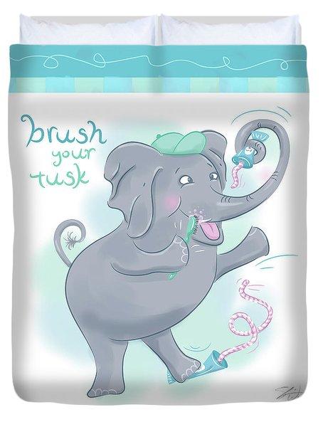 Elephant Bath Time Brush Your Tusk Duvet Cover
