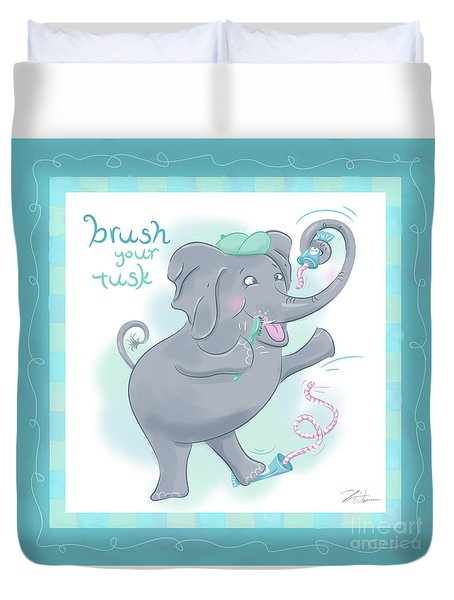 Elephant Bath Time Brush Your Tusk Duvet Cover