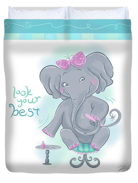 Elephant Bath Time Look Your Best Duvet Cover