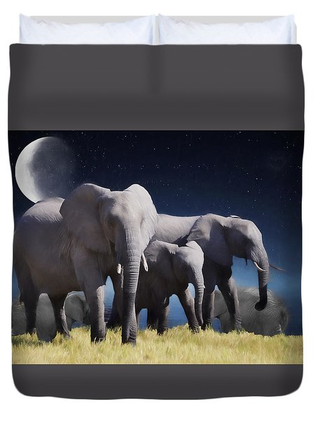 Elephant Bath Time Painting Duvet Cover by Ericamaxine Price