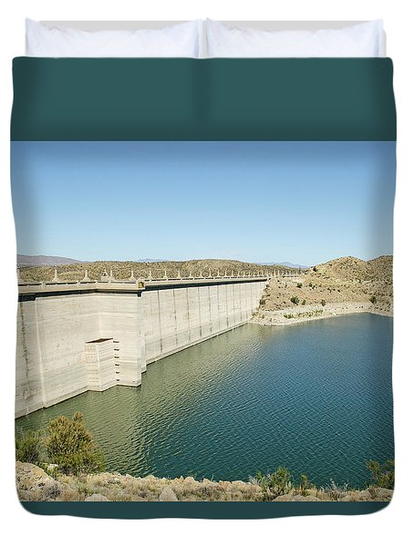 Duvet Cover featuring the photograph Elephant Butte Dam - Lake Side by Allen Sheffield