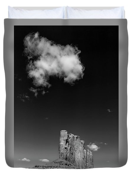 Elephant Butte In Black And White Duvet Cover by David Cote