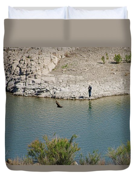 Elephant Butte Lake - Fisherman With Buzzard Duvet Cover