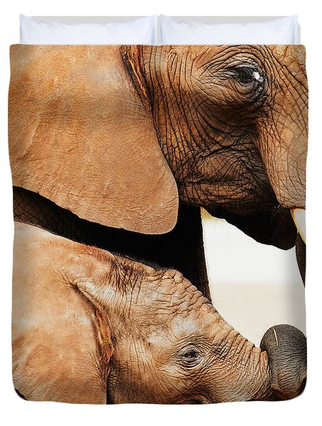 Elephant Calf And Mother Close Together Duvet Cover