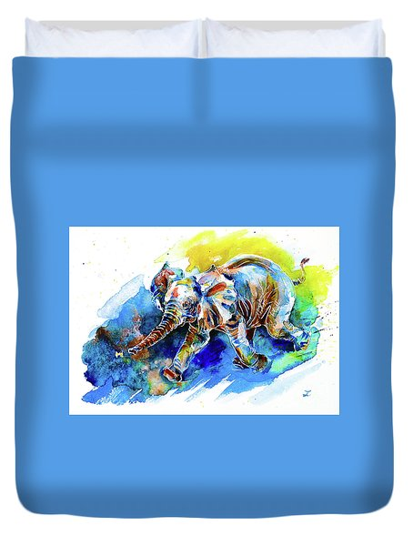 Duvet Cover featuring the painting Elephant Calf Playing With Butterfly by Zaira Dzhaubaeva