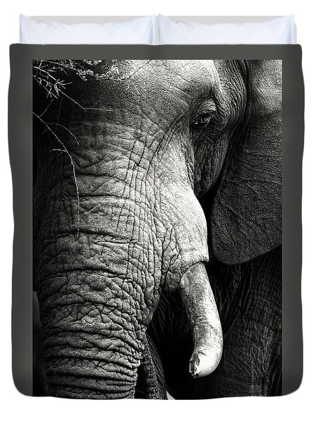 Elephant Close-up Portrait Duvet Cover