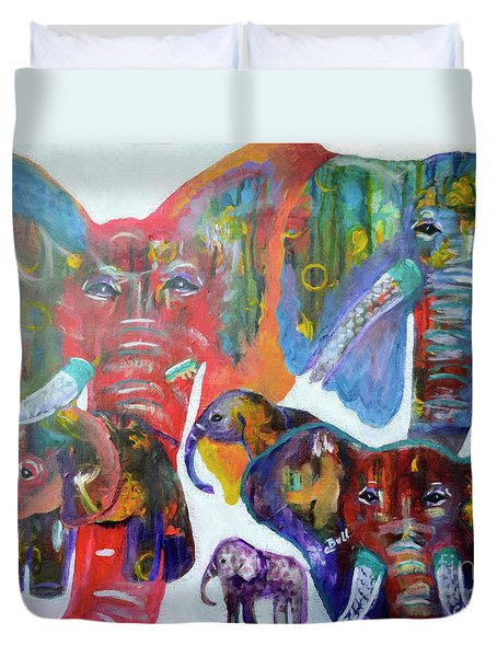 Duvet Cover featuring the painting Elephant Family by Claire Bull