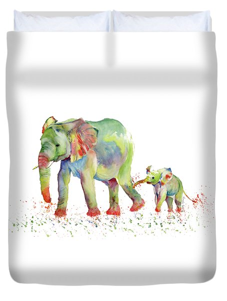 Elephant Family Watercolor  Duvet Cover