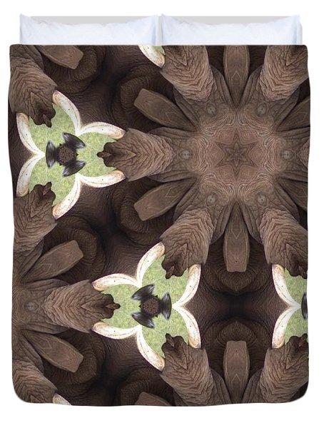 Elephant Flowers Duvet Cover by Maria Watt