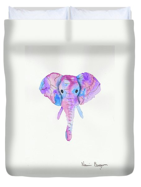 Elephant Head In Watercolour  Duvet Cover