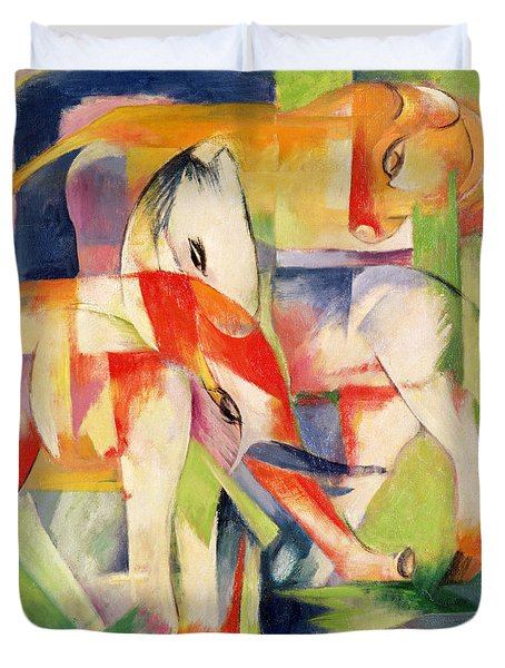 Elephant Horse And Cow Duvet Cover by Franz Marc