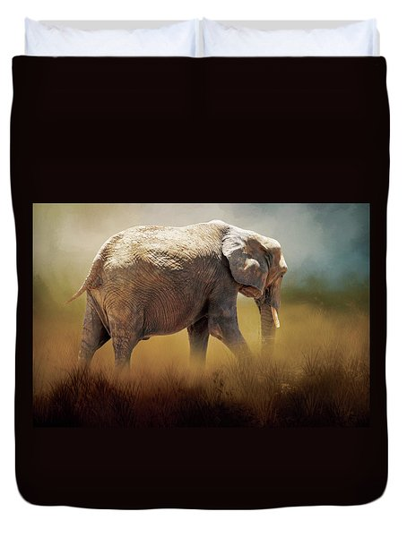 Duvet Cover featuring the photograph Elephant In The Mist by David and Carol Kelly
