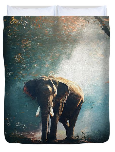 Duvet Cover featuring the painting Elephant In The Mist - Painting by Ericamaxine Price