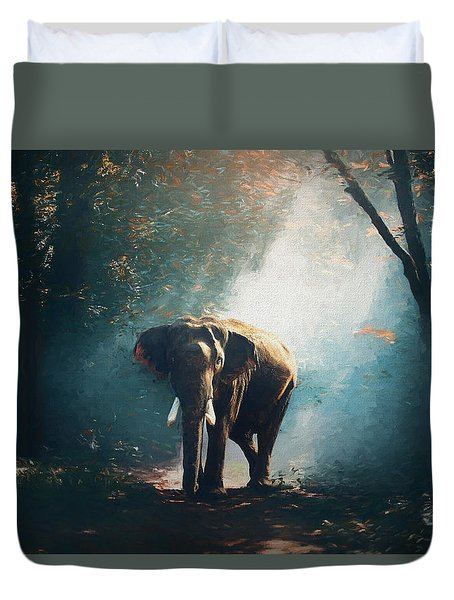 Elephant In The Mist - Painting Duvet Cover