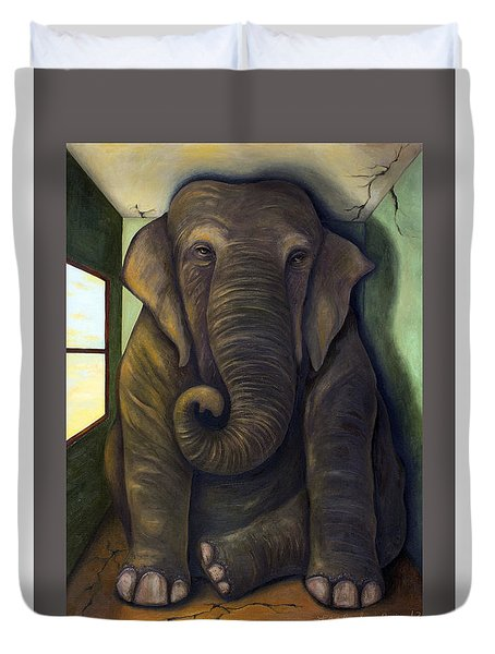Elephant In The Room With Lettering Duvet Cover