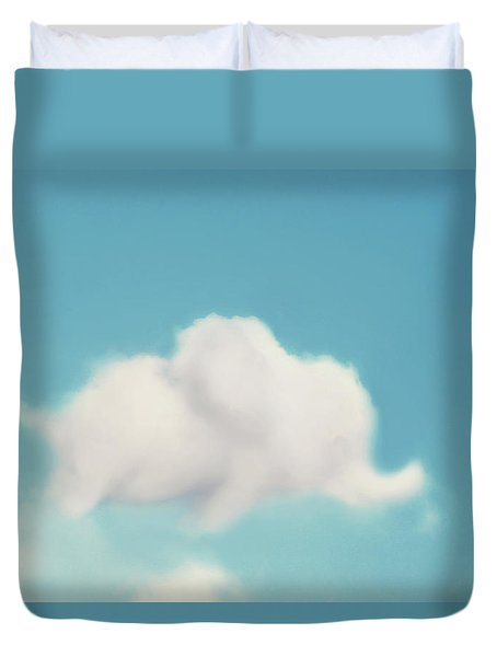 Elephant In The Sky Duvet Cover by Amy Tyler