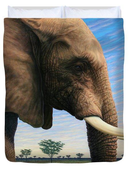 Duvet Cover featuring the painting Elephant On Safari by James W Johnson