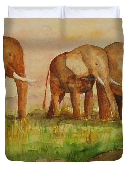 Duvet Cover featuring the painting Elephant Parade by Vicki  Housel