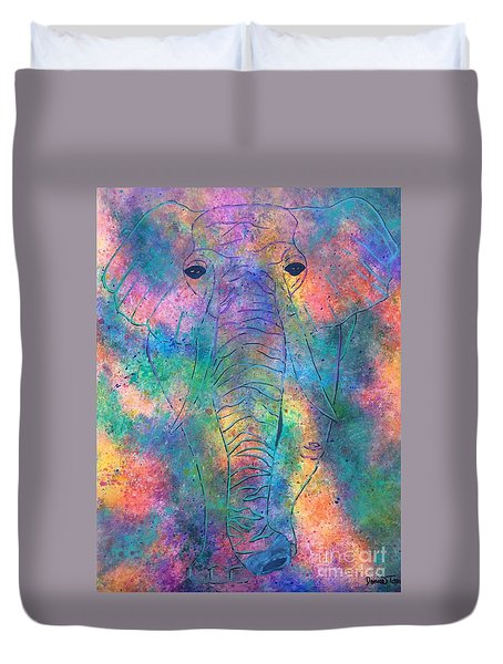 Duvet Cover featuring the painting Elephant Spirit by Denise Tomasura