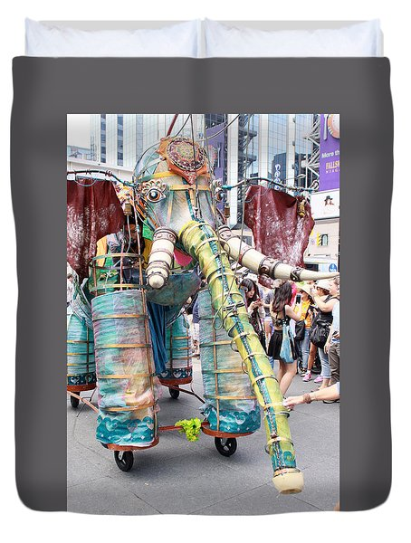 Elephant Support For Busker Fest Duvet Cover