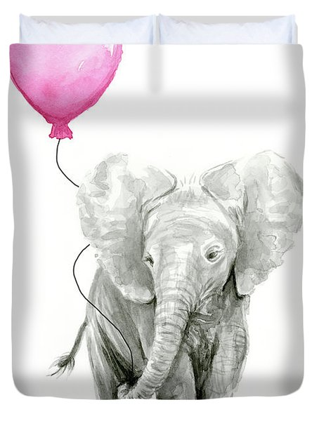 Baby Elephant Watercolor  Duvet Cover