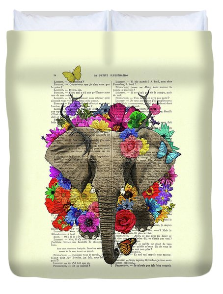 Elephant With Colorful Flowers Illustration Duvet Cover