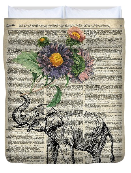 Elephant With Flowers Duvet Cover by Jacob Kuch