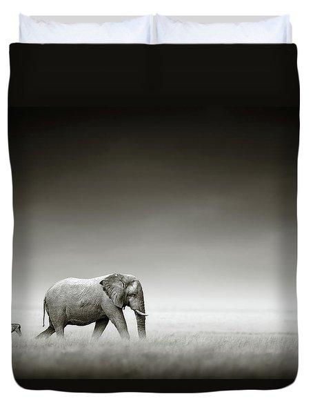 Elephant With Zebra Duvet Cover