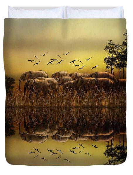 Elephants At Sunset Duvet Cover