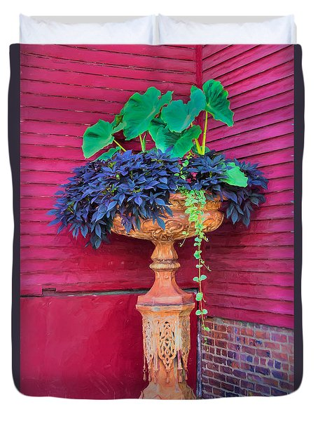 Duvet Cover featuring the photograph Elevated Basket Of Plants In The Corner by Gary Slawsky