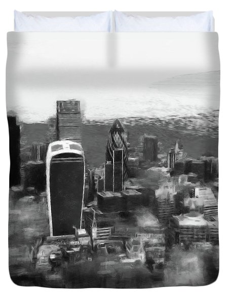 Elevated View Of London Duvet Cover by Gillian Dernie