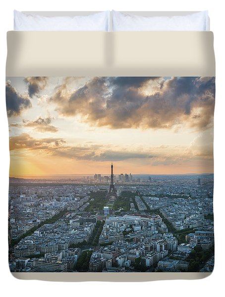 Elevated View Of Paris At Sunset Duvet Cover