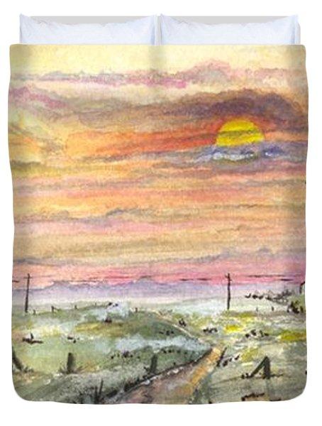 Elevator In The Sunset Duvet Cover