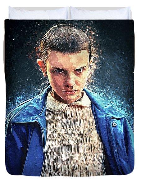 Duvet Cover featuring the digital art Eleven by Taylan Apukovska