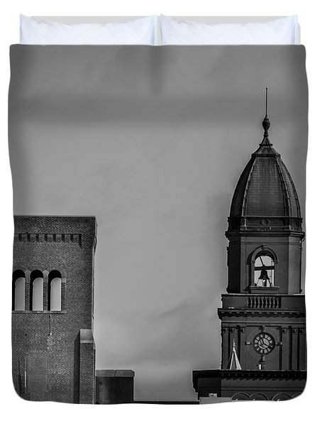 Eleven Twenty Says The Clock In The Tower Duvet Cover by Bob Orsillo