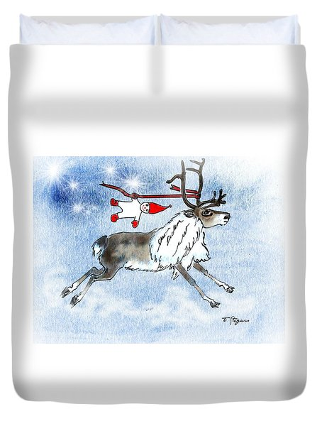 Elf And Reindeer Duvet Cover