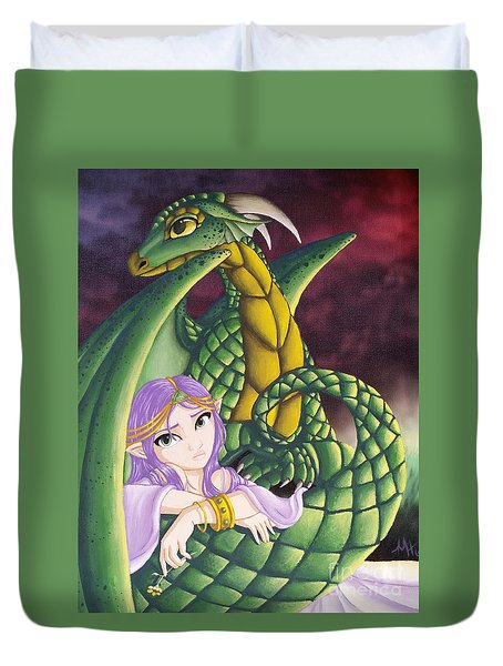 Elf Girl And Dragon Duvet Cover