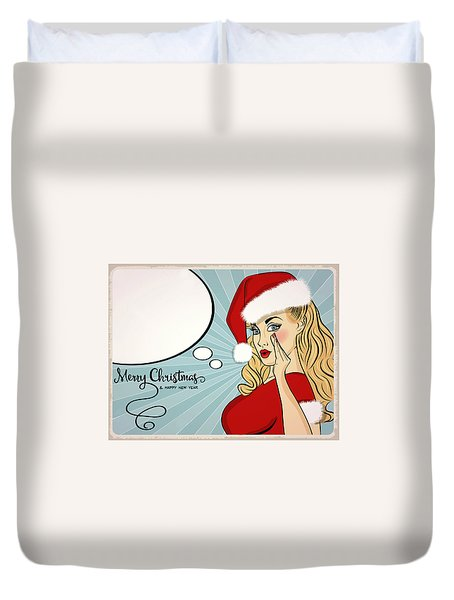 Elf Girl Whisper A Merry Christmas To You Duvet Cover