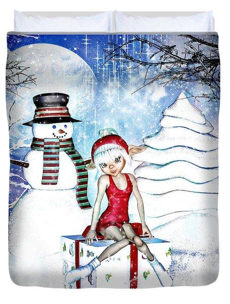 Elfin Winter Holidays Duvet Cover