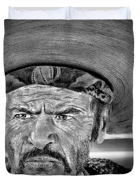Eli Wallach As Tuco In The Good The Bad And The Ugly At Sunset Black And White Version Duvet Cover