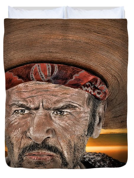 Eli Wallach As Tuco In The Good The Bad And The Ugly At Sunset Duvet Cover