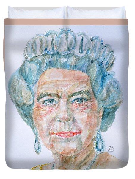 Duvet Cover featuring the painting Elizabeth II - Watercolor Portrait.2 by Fabrizio Cassetta