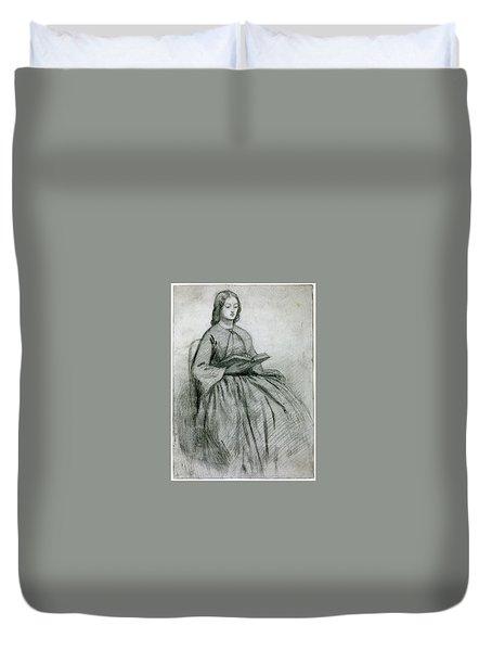 Elizabeth Siddall In A Chair Duvet Cover by Gabriel Rossetti