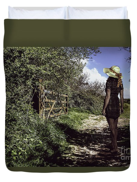 Eliza's Walk In The Countryside. Duvet Cover