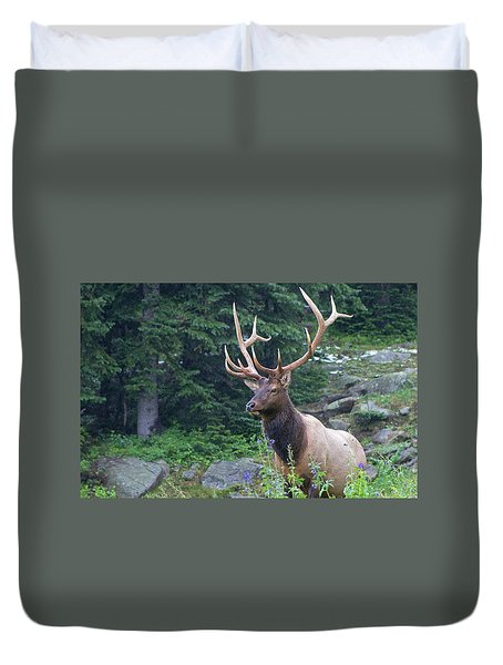 Duvet Cover featuring the photograph Elk 4 by Gary Lengyel